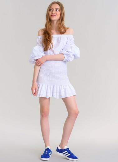 Agenda Volanlı Elbise Beyaz